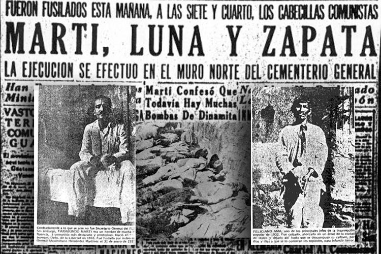 Reportes de prensa de los hechos del 22 de enero de 1932 en El Salvador.
